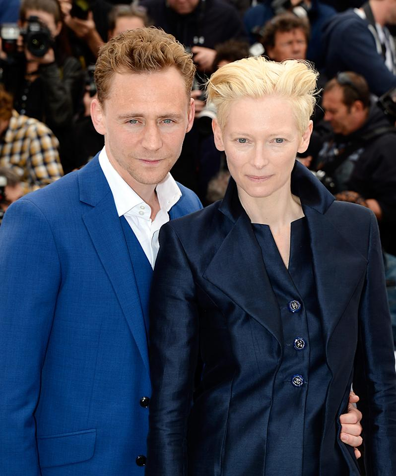 CANNES, FRANCE - MAY 25: Tom Hiddleston and Tilda Swinton attend the 'Only Lovers Left Alive' Photocall during The 66th Annual Cannes Film Festival on May 25, 2013 in Cannes, France. (Photo by Pascal Le Segretain/Getty Images)