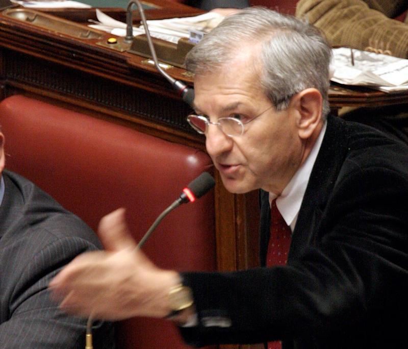"""Head of the Democrats of the Left party at the Lower Chamber Luciano Violante speaks during a session on the """"PDL sulla Recidiva (ex-Cirielli)"""", in Rome, Wednesday Dec. 15, 2004. President of the Lower Chamber Pierferdinando Casini, who was not presiding the session, was summoned by Lower Chamber vice president Clemente Mastella after verbal scuffles broke out between Mastella and DS (Democrats of the Left) Piero Ruzzante, causing Mastella to present his resignation. (AP Photo/Alessandra Tarantino) (Photo: ASSOCIATED PRESS)"""