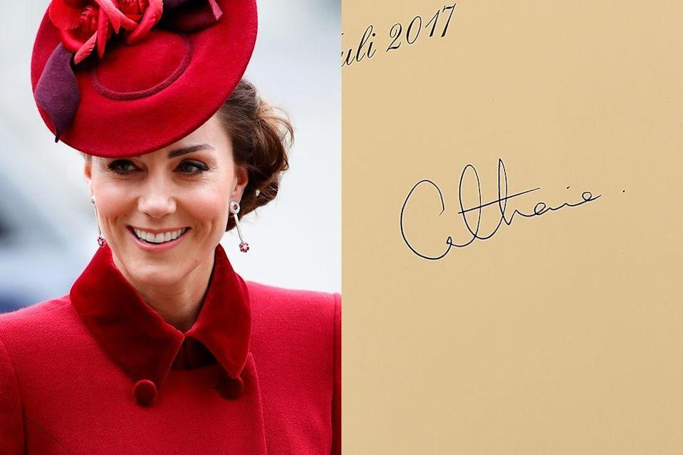 """<p>Although she's still largely known to her fans as """"Kate,"""" these days, the Duchess introduces herself (and signs guestbooks) as Catherine. </p>"""