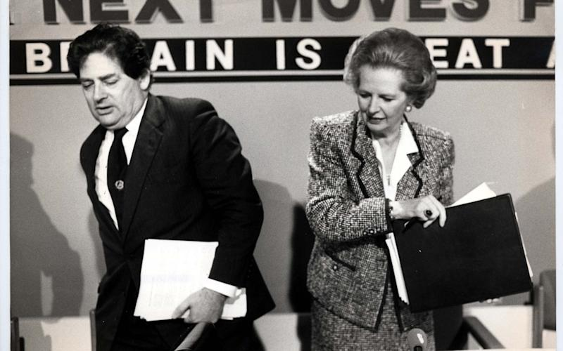 Nigel Lawson at a conference with Margaret Thatcher - Michael Fresco/Shutterstock