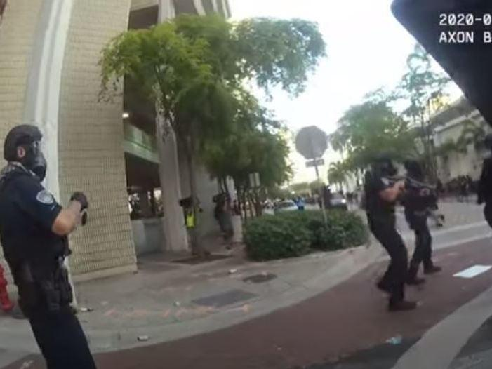 Officer responding to a 31 May protest fire rubber bullets and throw tear gas into a crowd: Fort Lauderdale Police Department
