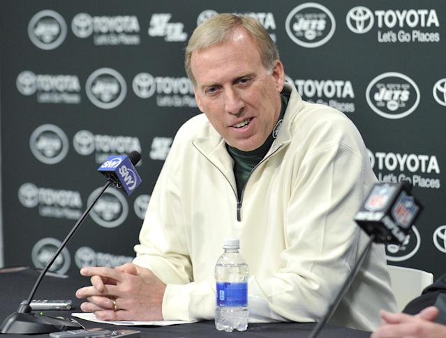New York Jets general manager John Idzik speaks to the media during an NFL football news conference Tuesday, Dec. 31, 2013, in Florham Park, N.J. (AP Photo/Bill Kostroun)