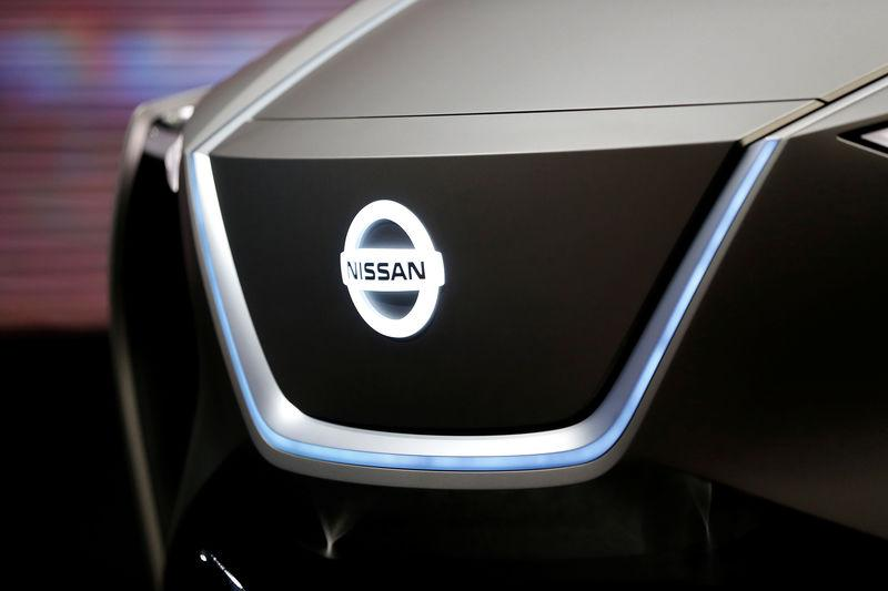 The logo of Nissan is seen during the 88th International Motor Show at Palexpo in Geneva