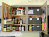 """<p>The solution: She used the doors for storage (hello, adorable spice rack) to free up shelf space and make room for containers with labels for things like snacks, baking supplies, and teas.</p><p><em><a href=""""http://www.jennaburger.com/2013/11/kitchen-organization-ideas-for-the-inside-of-the-cabinet-doors/"""" rel=""""nofollow noopener"""" target=""""_blank"""" data-ylk=""""slk:See more at Jenna Burger Design »"""" class=""""link rapid-noclick-resp"""">See more at Jenna Burger Design »</a></em></p><p><strong>What you'll need: </strong><span class=""""redactor-invisible-space"""">storage bins, $18 for a 6-pack, <a href=""""https://www.amazon.com/Marvel-Bug-Foldable-Organizer-Containers/dp/B01FML22U2/?tag=syn-yahoo-20&ascsubtag=%5Bartid%7C10072.g.36006557%5Bsrc%7Cyahoo-us"""" rel=""""nofollow noopener"""" target=""""_blank"""" data-ylk=""""slk:amazon.com"""" class=""""link rapid-noclick-resp"""">amazon.com</a></span><br></p>"""