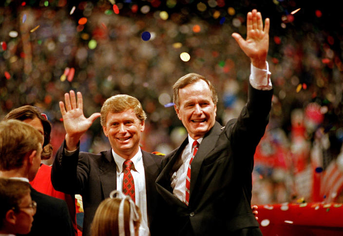 FILE - Republican presidential candidate, Vice President George Bush , right, and his running mate Sen. Dan Quayle, R-Ind., wave to the assembly of the Republican National Convention in New Orleans on Aug. 18, 1988. A new CNN Films documentary explores the role of the U.S. vice presidency, which in modern times has emerged into a more powerful position. Still, the film notes that a veep's duties are all up to the president. (AP Photo/J. Scott Applewhite, File)