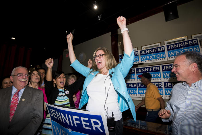 State Sen. Jennifer Wexton at her primary election night party in Sterling, Va., in June. (Photo: Bill Clark/CQ Roll Call via Getty Images)