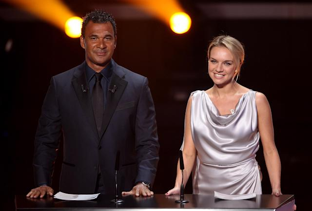 ZURICH, SWITZERLAND - JANUARY 09: Ruud Gullit and Kay Murray present the FIFA Ballon d'Or Gala 2011 on January 9, 2012 in Zurich, Switzerland. (Photo by Scott Heavey/Getty Images)