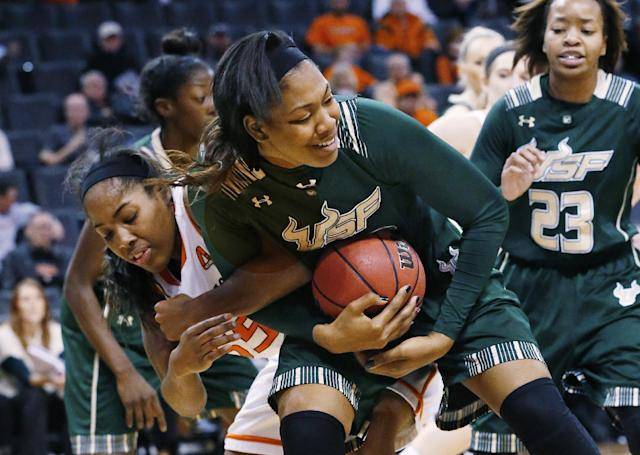 Oklahoma State center LaShawn Jones (55) and South Florida center Akila McDonald (32) fight for control of the ball in the first half of an NCAA college basketball game at the All College Classic in Oklahoma City, Saturday, Dec. 14, 2013. (AP Photo/Sue Ogrocki)