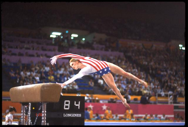 AUG 1984: KATHY JOHNSON OF THE UNITED STATES PERFORMS ONE OF HER VAULTS DURING THE SIDE HORSE VAULT EVENT AT THE 1984 LOS ANGELES OLYMPICS.