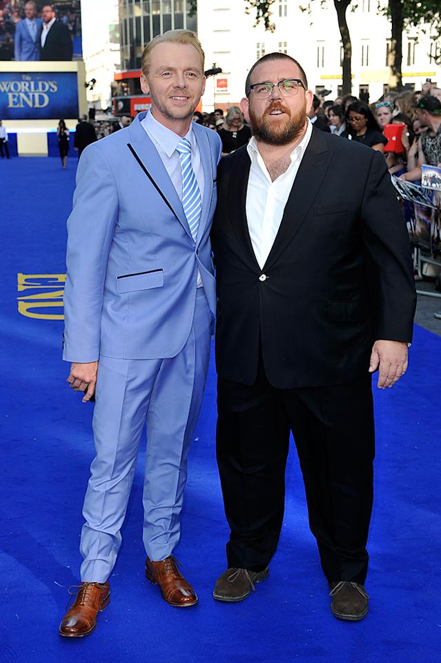LONDON, ENGLAND - JULY 10:  Actors Simon Pegg and Nick Frost attend the World Premiere of The World's End at Empire Leicester Square on July 10, 2013 in London, England.  (Photo by Gareth Cattermole/Getty Images for Universal Pictures)