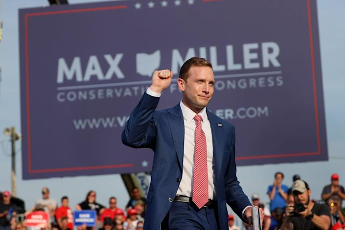 Max Miller, an Ohio congressional candidate who has been backed by Trump, is at a campaign event in Wellington, Ohio