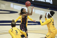 Stanford's Kiana Williams (23) shoots against California's Fatou Samb (33) during the first half of an NCAA college basketball game Sunday, Dec. 13, 2020, in Berkeley, Calif. (AP Photo/Jed Jacobsohn)