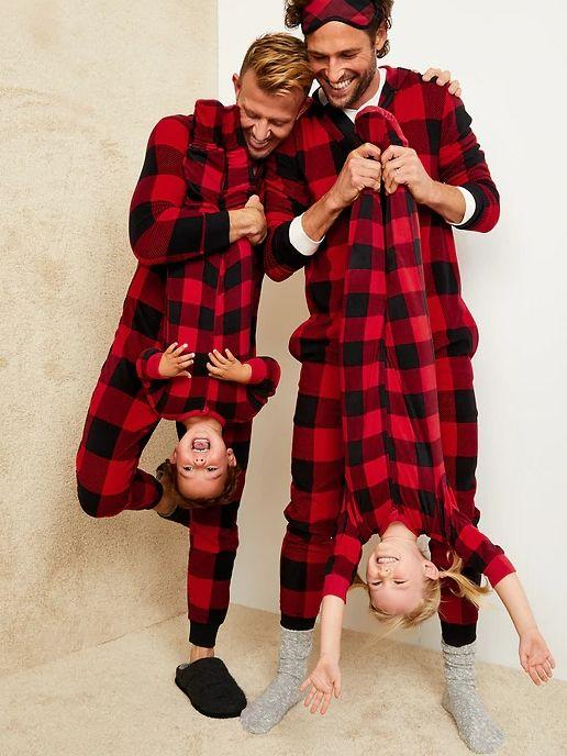 """These Gender-Neutral Micro Fleece Hooded Pajama One-Piece for Kids are available in sizes XS to XXL and four colors. <a href=""""https://fave.co/3plN8Fe"""" target=""""_blank"""" rel=""""noopener noreferrer"""">Get them on sale for 50% off (normally $35) at Old Navy</a>."""