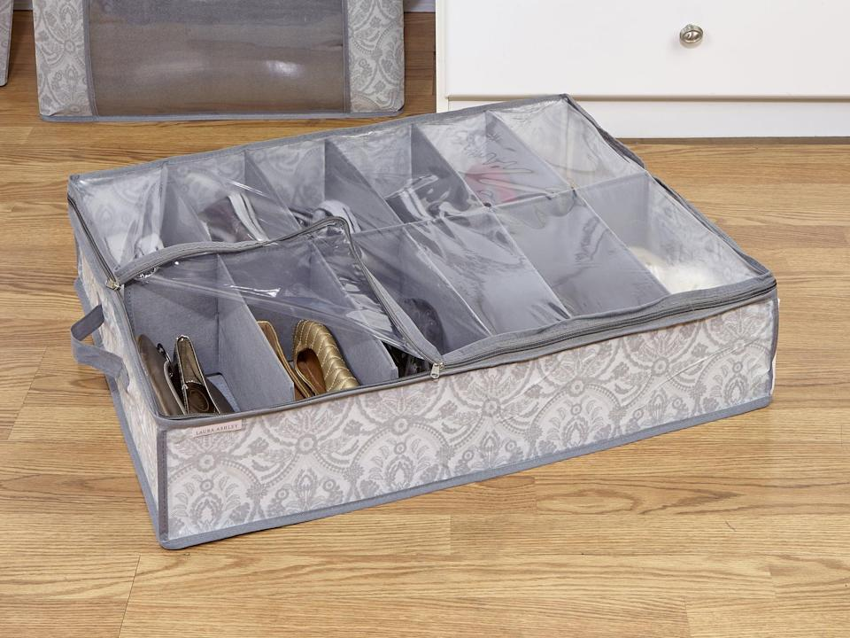 "<p>If you're running out of places to keep your shoes, invest in this <a href=""https://www.popsugar.com/buy/Kratzerville-Non-Woven-12-Pair-Shoe-Fabric-Underbed-Storage-571591?p_name=Kratzerville%20Non%20Woven%2012%20Pair%20Shoe%20Fabric%20Underbed%20Storage&retailer=wayfair.com&pid=571591&price=22&evar1=casa%3Aus&evar9=46502982&evar98=https%3A%2F%2Fwww.popsugar.com%2Fphoto-gallery%2F46502982%2Fimage%2F47545976%2FKratzerville-Non-Woven-12-Pair-Shoe-Fabric-Underbed-Storage&list1=shopping%2Cfurniture%2Corganization%2Cbedrooms%2Csmall%20space%20living%2Chome%20organization&prop13=api&pdata=1"" class=""link rapid-noclick-resp"" rel=""nofollow noopener"" target=""_blank"" data-ylk=""slk:Kratzerville Non Woven 12 Pair Shoe Fabric Underbed Storage"">Kratzerville Non Woven 12 Pair Shoe Fabric Underbed Storage</a> ($22).</p>"