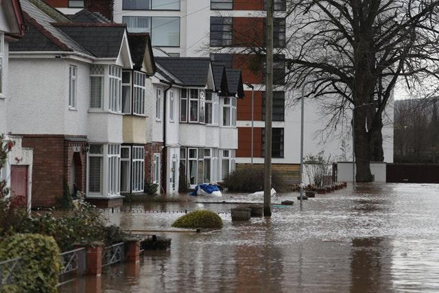 Flooded streets in Hereford, in the aftermath of Storm Dennis