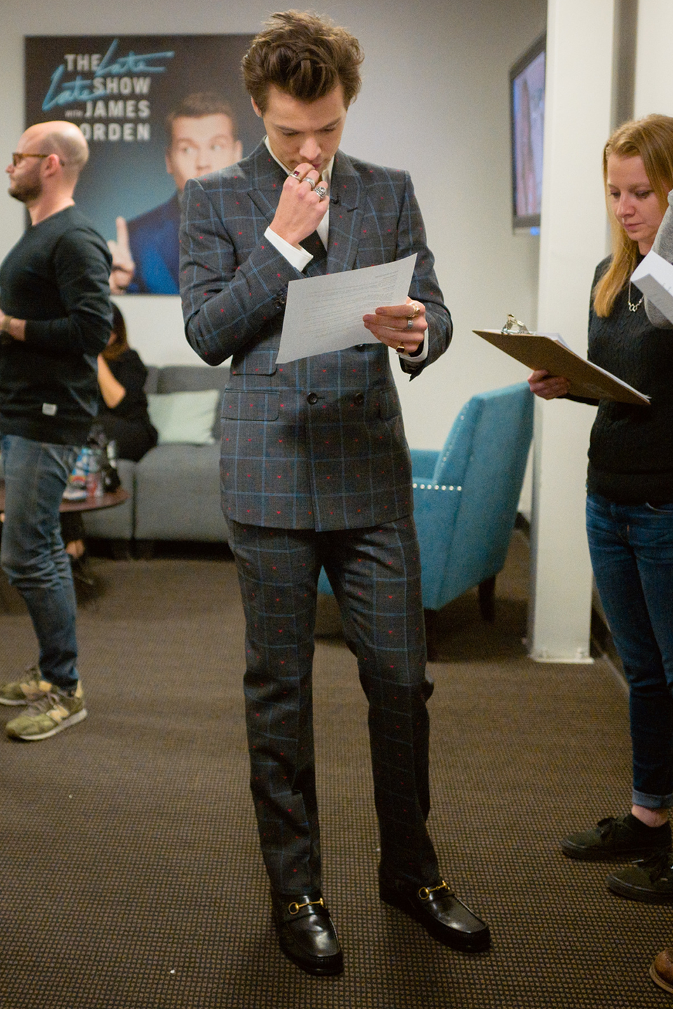 <p>When James Corden couldn't host <em>The Late Late Show </em>because his wife was giving birth, Harry stepped in and wore this Gucci suit, from the label's 2018 cruise collection. See? They're not always custom. Celebrities! They're just like us. Kind of. </p>