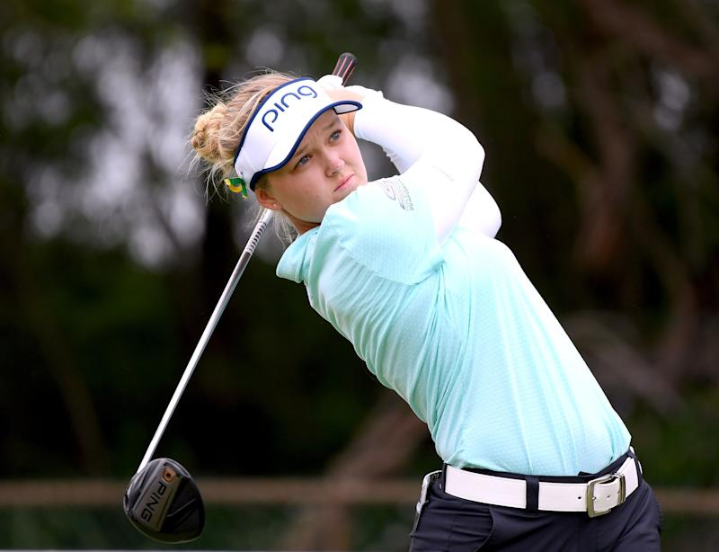 KAPOLEI, HI - APRIL 14: Brooke Henderson of Canada hits driver on the fifth tee during the fourth round of the LPGA LOTTE Championship at the Ko Olina Golf Club on April 14, 2018 in Kapolei, Hawaii. (Photo by Harry How/Getty Images)