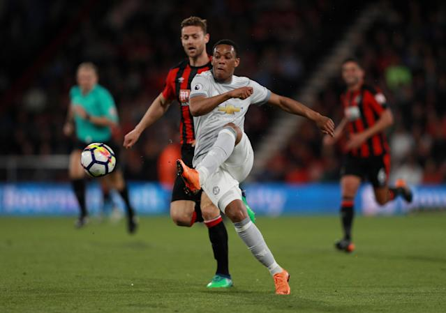 "Soccer Football - Premier League - AFC Bournemouth vs Manchester United - Vitality Stadium, Bournemouth, Britain - April 18, 2018 Manchester United's Anthony Martial in action REUTERS/Ian Walton EDITORIAL USE ONLY. No use with unauthorized audio, video, data, fixture lists, club/league logos or ""live"" services. Online in-match use limited to 75 images, no video emulation. No use in betting, games or single club/league/player publications. Please contact your account representative for further details."