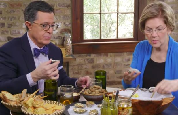 Colbert and Warren Eat Pre-Primary Food So Rich She'll 'Want to Tax It' (Video)