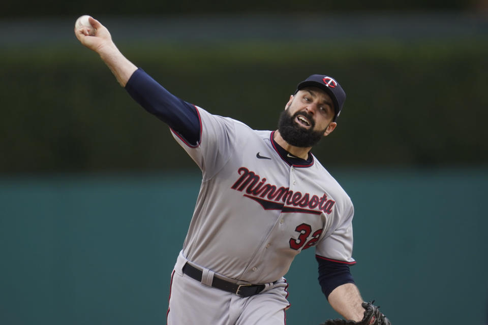 Minnesota Twins pitcher Matt Shoemaker throws against the Detroit Tigers in the first inning of a baseball game in Detroit, Friday, May 7, 2021. (AP Photo/Paul Sancya)