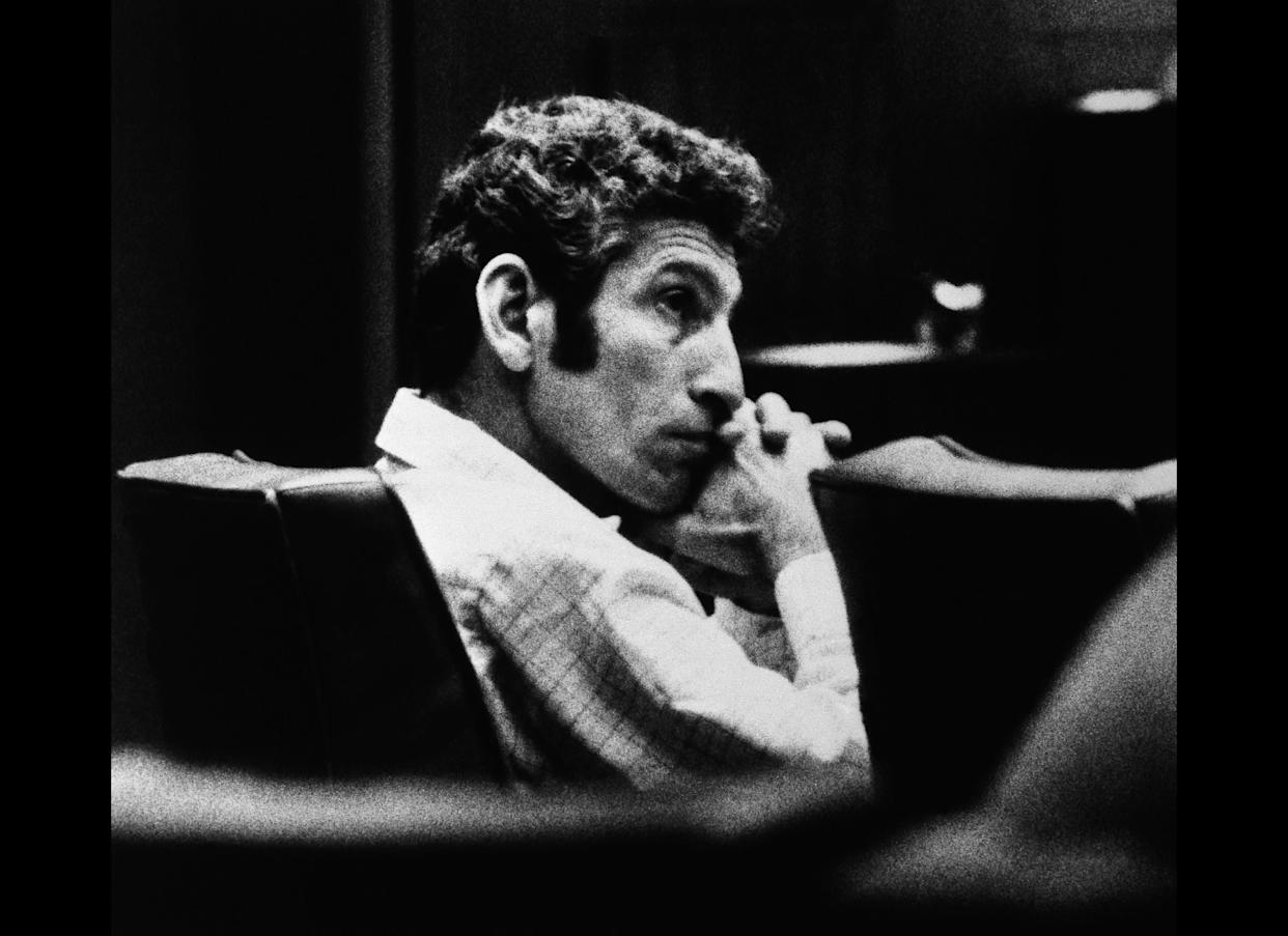 """Angelo Buono, a 47 year old auto upholsterer, sits in a Los Angeles courtroom Monday March 2, 1982 as he listens to opening arguments in the so called """"Hillside Stranglings"""" case in which Buono is accused of killing 10 women and girls in the Los Angeles area between 1977 and 1978."""
