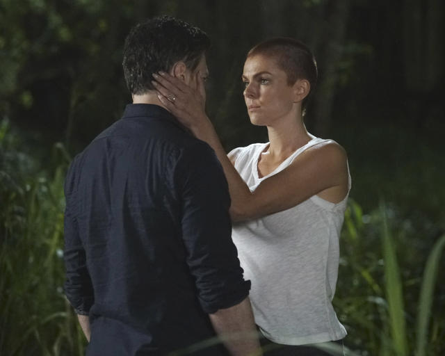 Black Bolt (Anson Mount) and Medusa (Serinda Swan) reunite on tonight's <em>Inhumans</em>. (Photo: Karen Neal/ABC)