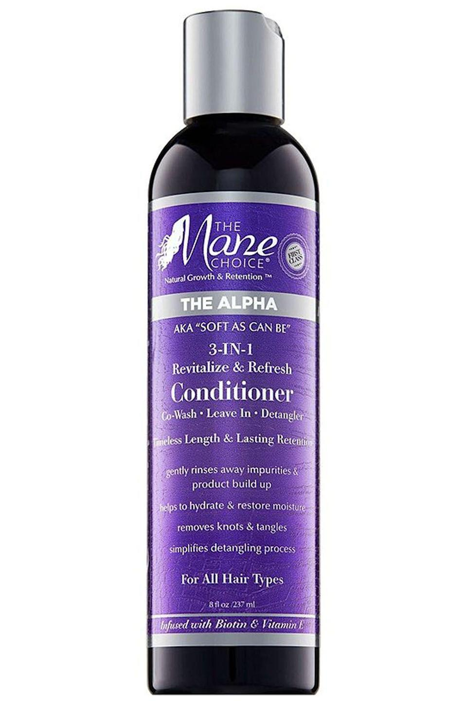 """<p><strong>The Mane Choice</strong></p><p>ulta.com</p><p><strong>$13.99</strong></p><p><a href=""""https://go.redirectingat.com?id=74968X1596630&url=https%3A%2F%2Fwww.ulta.com%2Falpha-soft-as-can-be-3-in-1-revitalize-refresh-conditioner%3FproductId%3Dpimprod2015423&sref=https%3A%2F%2Fwww.cosmopolitan.com%2Fstyle-beauty%2Fbeauty%2Fg33904669%2Fbest-leave-in-conditioners-for-natural-hair%2F"""" rel=""""nofollow noopener"""" target=""""_blank"""" data-ylk=""""slk:Shop Now"""" class=""""link rapid-noclick-resp"""">Shop Now</a></p><p>It's like one day we all hated 2-in-1 <a href=""""https://www.cosmopolitan.com/style-beauty/beauty/g2149/best-shampoo-conditioner/"""" rel=""""nofollow noopener"""" target=""""_blank"""" data-ylk=""""slk:shampoo-conditioners"""" class=""""link rapid-noclick-resp"""">shampoo-conditioners</a>, and the next, every brand out there was releasing a hair product that could ~do it all~. I was super skeptical of these multitaskers until this leave-in conditioner came my way. Massage the biotin and tea-tree infused product through your hair for about five minutes, rinse it out, and it becomes a co-wash. Work it in from the roots of your curls to the ends and <strong>it transforms into a conditioning, detangling hybrid.</strong> And it's actually way effective when it comes to all three claims—you love to see it.<br></p>"""