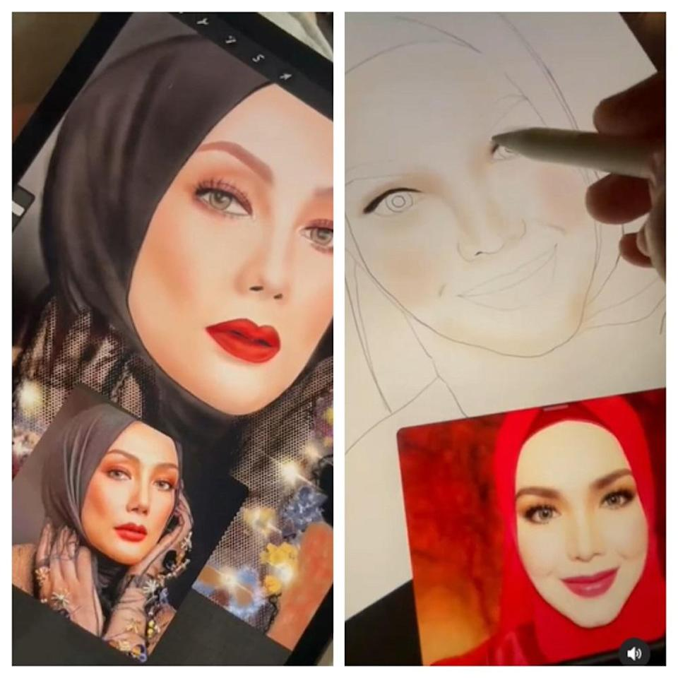 Some of Zulin's portraits include that of actresses Erra Fazira and Siti. ― Pictures via instagram/zulinaziz