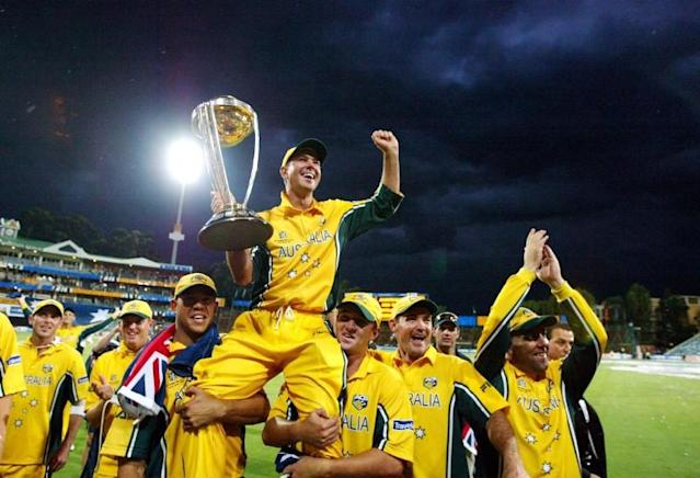 FILE PHOTO: Australian captain Ricky Ponting celebrates with his team mates after they beat India in the 50-overs World Cup final at Wanderers Stadium in Johannesburg