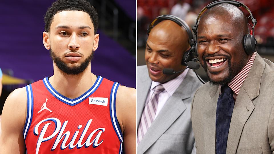 Ben Simmons was slammed by NBA legends Shaquille O'Neal and Charles Barkley over his threat to not report to training camp later this month, Pictures: Getty Images