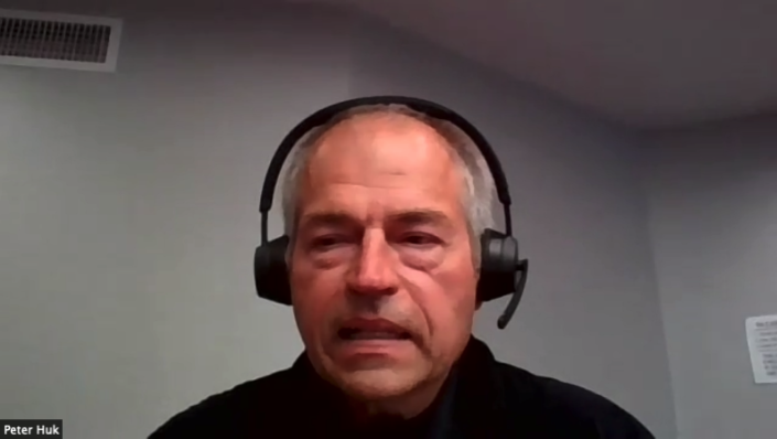 Plaintiff Peter Huk. (Screenshot from Zoom conference)