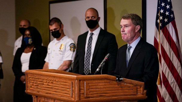 PHOTO: Indianapolis Mayor Joe Hogsett speaks at a news conference following a shooting at a FedEx facility in Indianapolis, April 16, 2021. (Michael Conroy/AP)