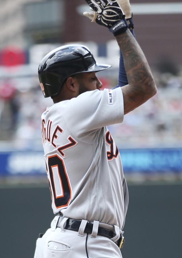 Detroit Tigers' Ronny Rodriguez celebrates his solo home run off Minnesota Twins pitcher Michael Pineda in the fourth inning of a baseball game Saturday, May 11, 2019, in Minneapolis. Rodriguez also homered in the second inning. (AP Photo/Jim Mone)