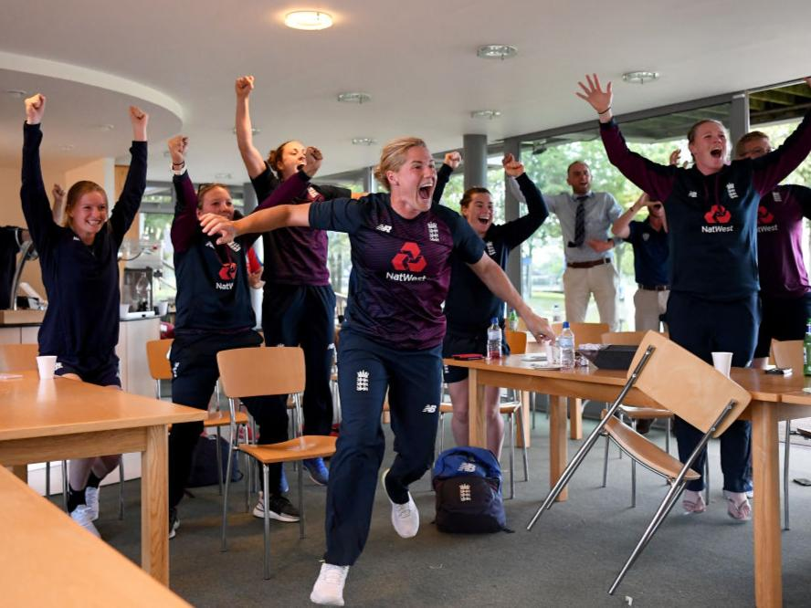 England celebrate the men's team's 2019 World Cup victoryGetty