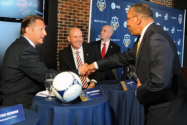 CHESTER, PA - APRIL 11: Nick Sakiewicz of the Philadelphia Union shakes hands with Mayor John Linder of Chester City, as Phil Stoops of AT&T looks on during the MLS All-Star Game Press Conference at PPL Park on April 11, 2012 in Chester, Pennsylvania. (Photo by Drew Hallowell/Getty Images)