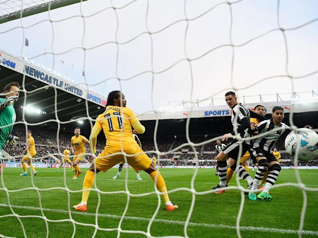 Ayoze Perez scores the opening goal for Newcastle (Getty)