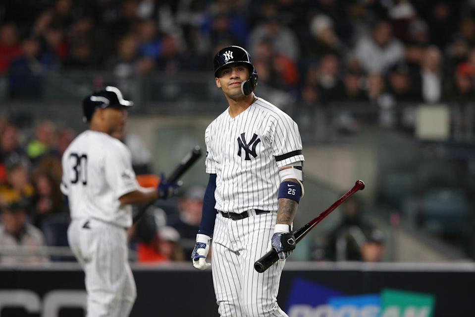 Oct 17, 2019; Bronx, NY, USA; New York Yankees second baseman Gleyber Torres (25) reacts after a call against th Houston Astros in game four of the 2019 ALCS playoff baseball series at Yankee Stadium. Mandatory Credit: Brad Penner-USA TODAY Sports