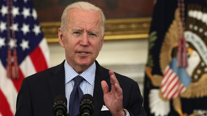 U.S. President Joe Biden delivers remarks on the COVID-19 response and the vaccination program during an event at the State Dining Room of the White House May 4, 2021 in Washington, DC. (Alex Wong/Getty Images)
