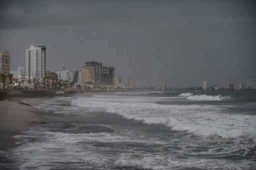 View of the coastline in Mazatlan, Sinaloa state, Mexico, on October 23, 2018, as Hurricane Willa closed in