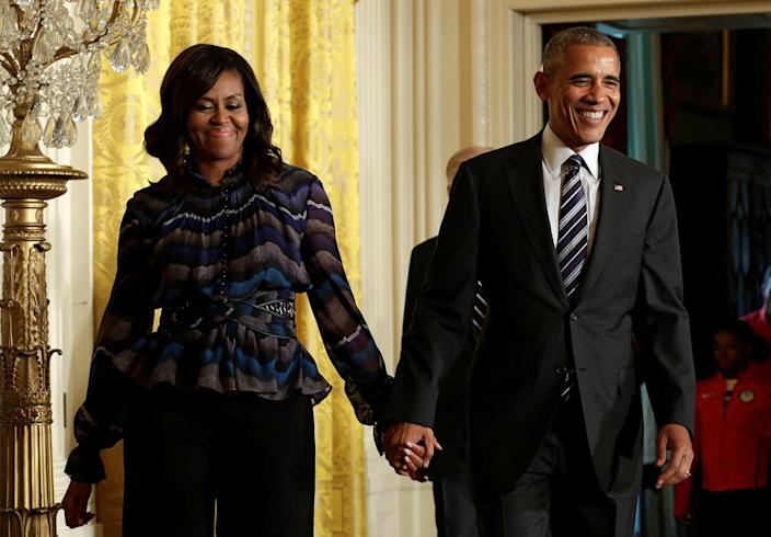 President Obama arrives with first lady Michelle Obama to welcome U.S. Olympic and Paralympics teams to the White House, in Washington, September 2016. (Photo: Yuri Gripas/Reuters)