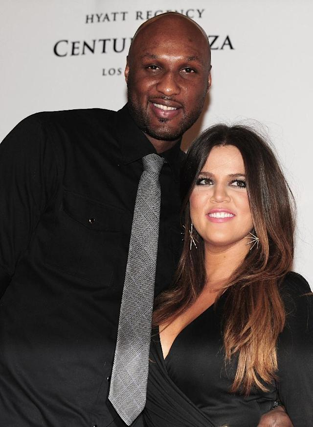 "(FILES) Lamar Odom and Khloe Kardashian-Odom pose on arrival for the 19th Annual Race to Erase MS themed ""Glam Rock to Erase MS"" in Los Angeles in this May 18, 2012, file photo. Odom, a former NBA champion who gained wider fame as the husband of reality TV star Khloe Kardashian was in hospital after being found ""unresponsive"" at a Nevada brothel, authorities said on October 13, 2015. The Nye County Sheriff's Department was called Tuesday afternoon to Love Ranch, a legal brothel in Crystal, Nevada, for a report of an ""unresponsive"" man needing an ambulance, Sheriff Sharon A. Wehrly said in a statement. AFP PHOTO/Frederic J. BROWN/FILES (AFP Photo/FREDERIC J. BROWN)"