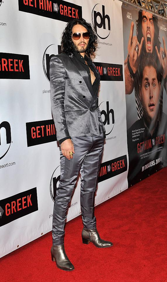 """<a href=""""http://movies.yahoo.com/movie/contributor/1809838319"""">Russell Brand</a> at the Las Vegas screening of <a href=""""http://movies.yahoo.com/movie/1810081179/info"""">Get Him to the Greek</a> - 05/20/2010"""