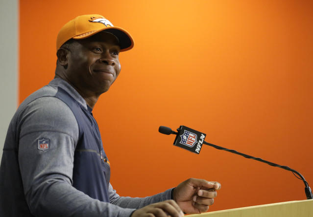 Vance Joseph has not had a great rookie season as Broncos coach. (AP)