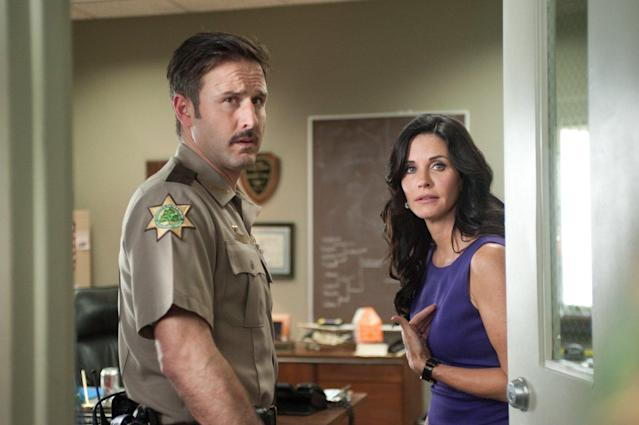 David Arquette and Courtney Cox in a still from <em>Scream 4</em>. (Dimension)