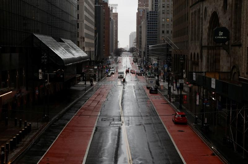 A nearly empty East 42nd Street is seen in midtown Manhattan as the coronavirus disease (COVID-19) outbreak continues, in New York