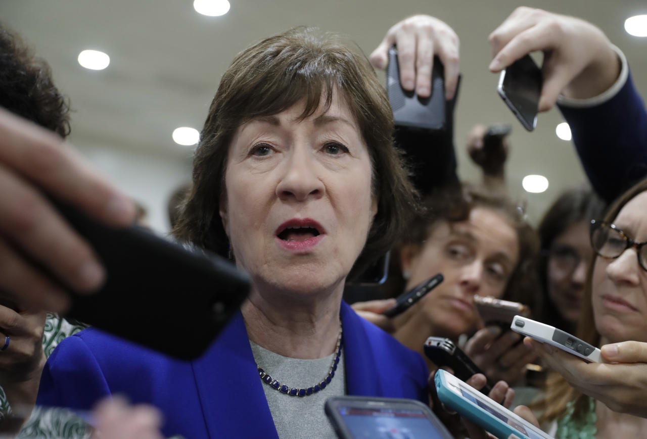 <p> Sen. Susan Collins, R-Maine, speaks amid a crush of reporters after Republicans released their long-awaited bill to scuttle much of President Barack Obama's Affordable Care Act, at the Capitol in Washington, Thursday, June 22, 2017. She is one of four GOP senators to say they are opposed to it as written which could put the measure in immediate jeopardy. (AP Photo/J. Scott Applewhite) </p>