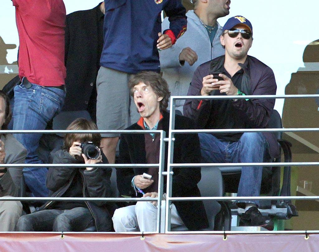 "DiCaprio and Jagger were really into the game, where Germany beat Argentina 4-0! Juan Soliz/<a href=""http://www. PacificCoastNews.com"" target=""new"">PacificCoastNews.com</a> - July 3, 2010"