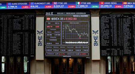 Electronic boards are seen at the Madrid stock exchange which plummeted after Britain voted to leave the European Union in the EU BREXIT referendum, in Madrid