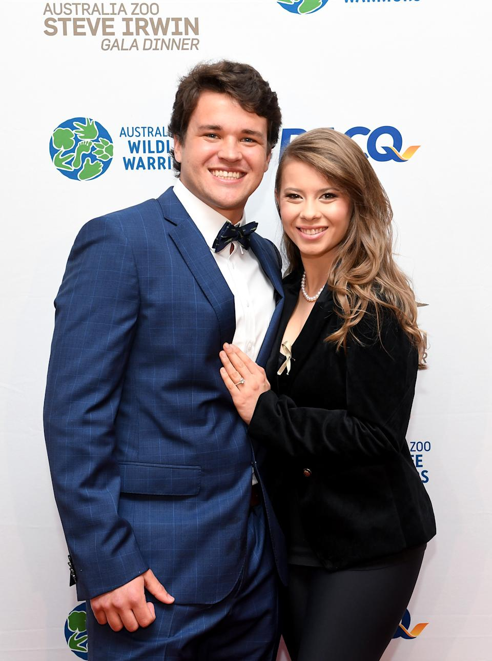 Bindi Irwin poses for a photo with fiance Chandler Powell at the annual Steve Irwin Gala Dinner at Brisbane Convention & Exhibition Centre on November 09, 2019 in Brisbane, Australia.