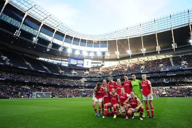 A Women's Super League record crowd of 38,262 saw Arsenal beat Spurs 2-0 at the Tottenham Hotspur Stadium (Zac Goodwin/PA)